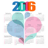 Calendário colorido abstrato 2016 Vetor Fotografia de Stock