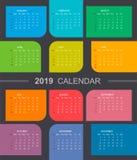 Calendário colorido 2019 Começos da semana em domingo ilustração stock