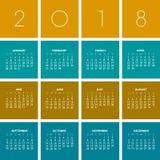 Calendário 2018 colorido criativo ilustração stock