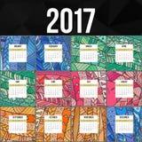 Calendário colorido 2017 de Zentangle pintado à mão ao estilo dos testes padrões florais e da garatuja Fotos de Stock Royalty Free