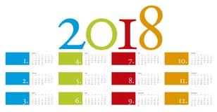Calendário colorido e elegante pelo ano 2018 Imagem de Stock