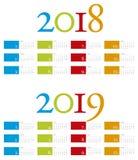 Calendário colorido e elegante por anos 2018 e 2019 Fotos de Stock Royalty Free