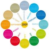 Calendário colorido para 2009. Fotografia de Stock