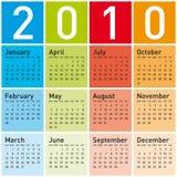 Calendário colorido para 2010. ilustração do vetor
