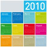 Calendário colorido para 2010. Foto de Stock Royalty Free