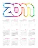 Calendário colorido para 2011 Fotografia de Stock