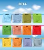 Calendário colorido para 2014 Imagens de Stock