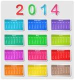 Calendário colorido para 2014 Fotografia de Stock