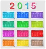 Calendário colorido para 2015 Fotografia de Stock Royalty Free