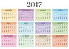 Calendário colorido para 2017 Ilustração do Vetor