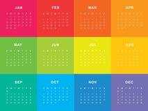 Calendário colorido para 2018 ilustração stock
