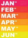 Calendário colorido para 2018 Imagens de Stock Royalty Free