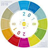 Calendário colorido para 2018 no espanhol Imagem de Stock
