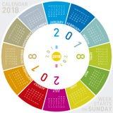 Calendário colorido para 2018 Projeto circular Imagem de Stock