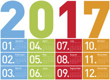 Calendário colorido pelo ano 2017 Fotografia de Stock