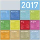 Calendário colorido pelo ano 2017 Imagens de Stock