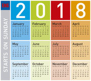 Calendário colorido pelo ano 2018, em inglês Fotografia de Stock