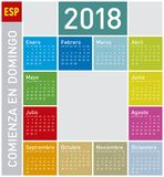 Calendário colorido pelo ano 2018, no espanhol fotos de stock royalty free