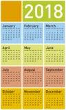 Calendário colorido pelo ano 2018, no formato do vetor imagem de stock