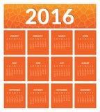 Calendário colorido pelo ano novo 2016 Fotografia de Stock