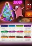 Calendário com ano novo 2019 de Chenese do porco ilustração do vetor