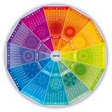 Calendário 2018 com as mandalas em cores do arco-íris ilustração do vetor