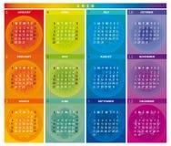 Calendário 2018 com as mandalas em cores do arco-íris ilustração royalty free