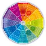 Calendário 2019 com as mandalas em cores do arco-íris ilustração stock