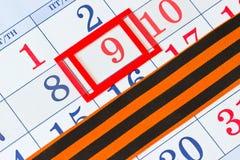Calendário com a data do 9 de maio Foto de Stock Royalty Free