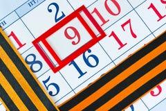 Calendário com a data do 9 de maio Imagens de Stock Royalty Free