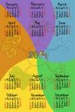 Calendário 2014 com fonte feito a mão cômica Imagem de Stock Royalty Free