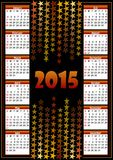 Calendário 2015 com fundo da estrela Imagem de Stock