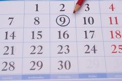 Calendário com lápis vermelho Imagem de Stock Royalty Free
