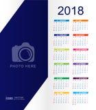 Calendário 2018 com lugar para o espaço e a foto da cópia ilustração royalty free