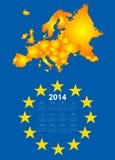 calendário 2014 com mapa de Europa Fotos de Stock Royalty Free