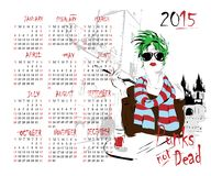Calendário com menina da forma Imagens de Stock