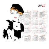 Calendário com menina da forma Imagem de Stock