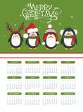 Calendário 2015 com pinguins engraçados Fotografia de Stock