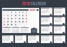 Calendário com planejador ou espaço para as notas 2018, opinião da paisagem foto de stock royalty free