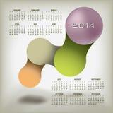 Calendário 2014 com projeto Imagens de Stock