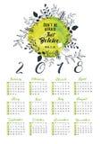 calendário 2018 com projeto da folha floral Imagens de Stock