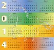 Calendário 2014 com símbolo da silhueta do cavalo Fotos de Stock Royalty Free