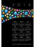 calendário 2014 com símbolos do globo Foto de Stock Royalty Free