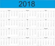 Calendário completo do ano 2018 Fotos de Stock