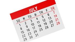 calendário 3d no fundo branco ilustração stock
