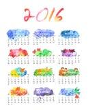 Calendário 2016 da aquarela Fotografia de Stock