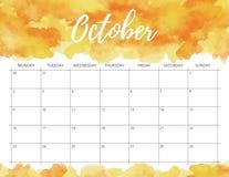 Calendário da aquarela de outubro imagem de stock
