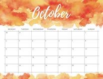 Calendário da aquarela de outubro imagens de stock royalty free
