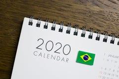 Calendário da bandeira de Brasil 2020 imagens de stock