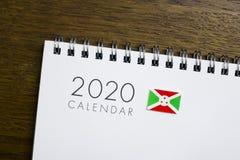 Calendário da bandeira de Burundi 2020 fotografia de stock